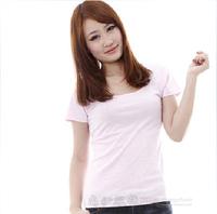 2013 summer t Women slim waist solid color short-sleeve T-shirt slim 100% cotton blank t-shirt basic shirt ploughboys powder