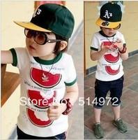 Best selling!!5pcs/lot Lovely Watermelon boys Tshirt pure cotton children cloth  short sleeve kids garment free shipping