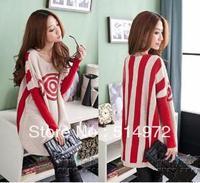Best selling!!women lollipop print batwing sleeve sweater medium-long loose outerwear free shipping