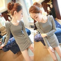 2013 spring fashion women's slim long-sleeve houndstooth basic tight-fitting slim hip sexy one-piece dress
