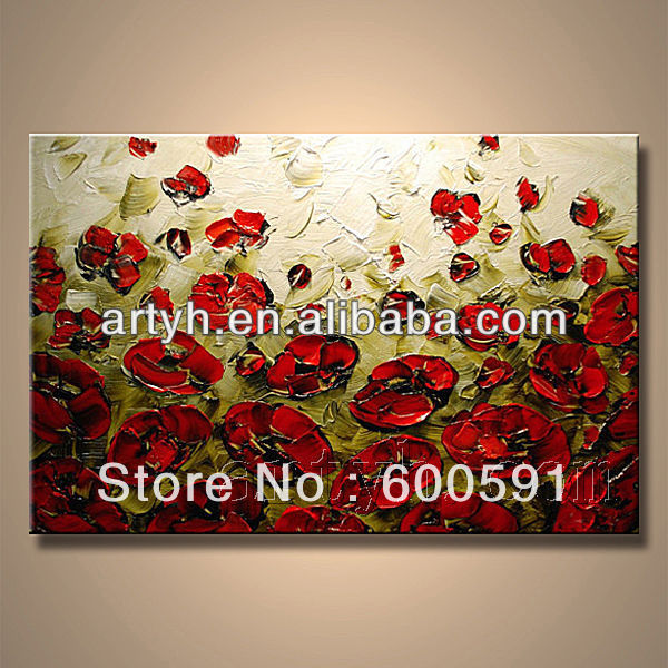 painting designs flower on canvas(China (Mainland))