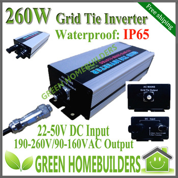 free shipping CE approved   input range 22-50VDC 260W Water Proof Solar Power Grid Tie Micro Inverter