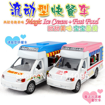 Toy car alloy WARRIOR cars baby ice cream hamburger lunchwagon acoustooptical freeshipping