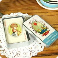Wholesale free shipping Korea stationery desk cat girl iron box playing card