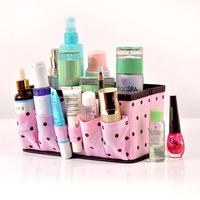 Pink polka dot thickening desktop cosmetics storage box sn1354