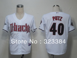 Free shipping can mix order baseball Jersey,Arizona Diamondbacks #40 Putz White Cool Base jerseys,number and name embroidery(China (Mainland))