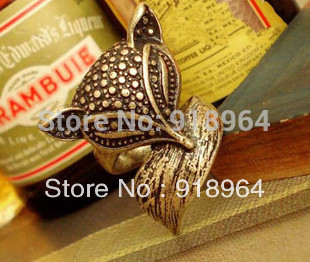 C056 Free Shipping! (Min Order $12,can mix) Vintage Antique Copper Plated Men Women Fox Finger Rings Tail Rings(China (Mainland))