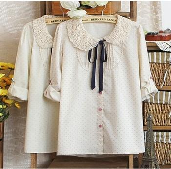 blusas femininas New 2014 autumn Fashion Brand Women lace Crochet collar blouses Ladies polka dot long sleeve chiffon shirt