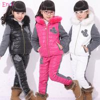 1 set Retail New 2014 winter girls clothing sets, ski suit, sport suit, girls tracksuit set