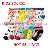 2013 NEW free shipping Baby Socks, home footwear, 12 pcs anti slippery socks, high-quality cotton warmers,cartoon,colors,