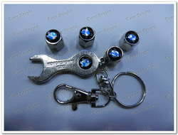 4 sets Top Quality Auto Tire Valves Caps Auto Car Logo With Key Chain for BMW(China (Mainland))