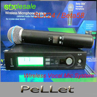 wholesale-LCD display  UHF SLX24  handheld Wireless Vocal Mic System SLX24 / Beta58 microphone,2 piece/lot