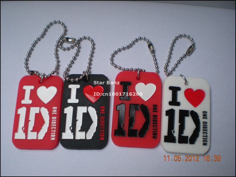 I love 1D key tag, One direction dog tag with key chaing, silicon dog tag, 3colours, 50pcs/lot, free shipping(China (Mainland))