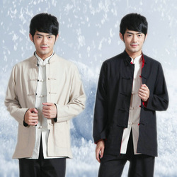 2013 casual male long-sleeve tang suit coat, chinese style tang suit dress, outerwear tops, gongfu dress, linen & cotton fabric(China (Mainland))