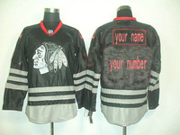 Customized Personalized Chicago Blackhawks Premier Black colors ice hockey jerseys Sewed Your Name And Your Number