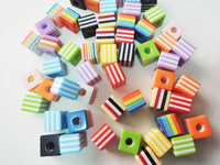 Wholesale 8*8MM 1000pcs/lot Mixed Color Striped Cube Resin Spacer Beads For Square Resin Chunky Beads Necklace and Bracelets!!