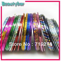Mix Color Self-adhesive Rolls Striping Tape Metallic Yarn Line Nail Art Decoration Sticker Free Shipping 200rolls/lot