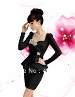 2013 spring new super flash diamond gem noble ladies bow party tight dress plus size OL dress S-XL