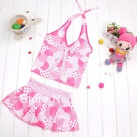Young girl big female child halter-neck spaghetti strap split skirt swimwear 9 - 13 1170 2 - pink