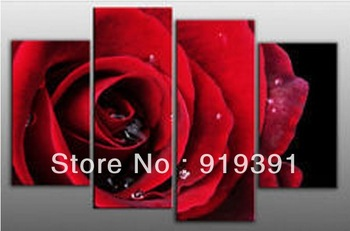 "Free shipping on hand-painted Good Large Modern Abstract Art Oil Painting Wall Deco Canvas""Red Rose"" 4pcs/set"