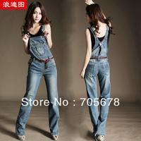 2013 spring and summer loose denim pants hot sale fashion jumpsuit women jeans size S M L XL