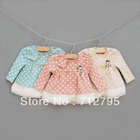 Baby girls' spring and autumn long-sleeve cardigan top bear wave dots 3 layers chiffon hem skirt style