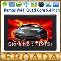 Free shipping 9.4inch Ramos W41 tablet Quad Core ARM Cortes A9 IPS Screen 1280x800 1GB RAM 16GB ROM WIFI OTG 3G Dongle