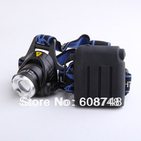 Hot!! 1600LM 3 Modes CREE XM-L XML T6 LED Headlamp Rechageable Zoomable Headlight Lighting Free shipping