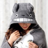 free shipping Classic cartoon totoro mantissas cape lounged blanket air conditioning blanket mantissas cloak