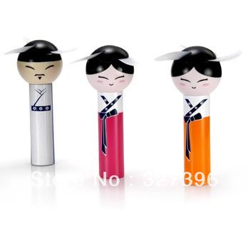 Cute Japan&South Korea Ethnic Dolls Fan Mini Portable Battery  Summer Cool  Hand Fan Free Shipping&Wholesale!