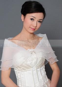 2g The  wedding  girl  cheongsam beige bubble scrub thin soft screen bow autumn cape waistcoat p18  bride dress