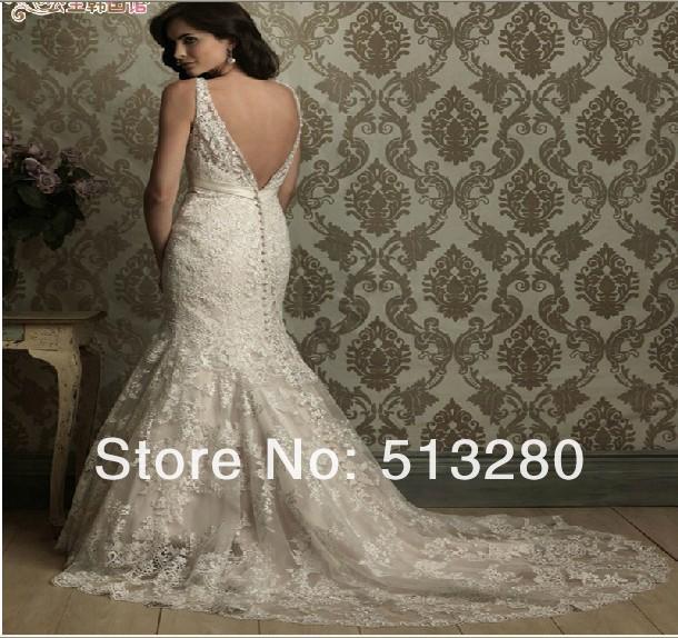 Rendas vestido de princesa pérola vestido nova new custom de noiva de cauda(China (Mainland))