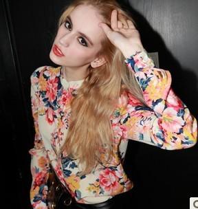 New arrivel,Chiffon blouse shirt,Blouses for women 2014,Fashion printing multicolour long-sleeve shirt