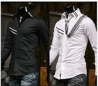 Mens Casual Slim fit Dress Shirt 4size 2Colors E46