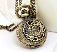 Minimum order 50$ : Vintage small size two owl pocket watch / necklace/jewelry gft accessories S1303-11