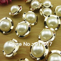 Free Shipping 30pcs  Electroplating Phnom Penh half ABS faux pearl buttons with clothing accessories 22mm
