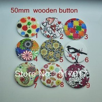 Free Shipping 60pcs Mixed Multicolor 4 Holes Wood Sewing Buttons Scrapbooking 50 mm (M06810 X 07) made in China