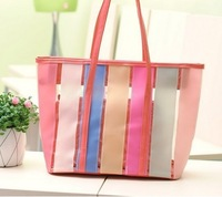 2013 women's transparent beach bag big candy color jelly bag shoulder bag-Free Shipping,fashion strip candy color hand bag