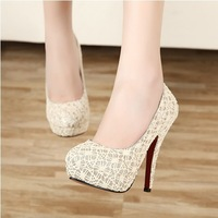Sweet platform thin heels lace sexy black shoes high-heeled shoes party shoes formal dress single shoes