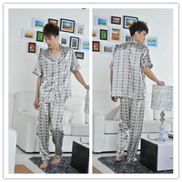 Male pajama set, short sleeve + length pants , casual lounge in summer