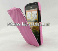 1XCarbon Fiber Flip Leather Case Cover for HTC One S Z520e+Screen film