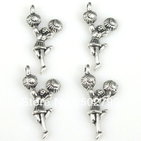 Free Shipping Wholesale Lots 40pcs Tibetan Silver Tone Alloy Cheerleader Charms Pendants TS9924