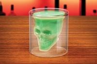 Free shipping Retail Doomed Crystal Skull Shot Glass Crystal Skull Head mug Vodka Shot Wine Glass Novelty Borosilicate Cup Gift