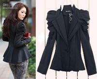 2013 new women Ladies Black Suit Blazer One Button Shrug Shoulder Jacket Coat double Collars