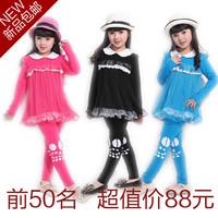 Big boy women's children's clothing female child spring 2013 spring and autumn child sportswear set kids clothes