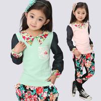 Children's clothing female child spring 2013 harem pants set child sports set baby clothes