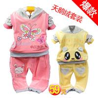 Children's clothing female child 2013 spring and autumn velvet child set baby clothes baby sportswear