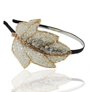 Hair pin pearl lace flower hair bands wedding headband broadened rhinestone t039