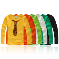 Free Shipping 2013 New Cute Leopard Print Tie Slim Cotton Baby Boys Long-sleeve T-shirt Children's T-shirt Kids' Tops Tees