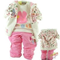 Female child 100% cotton three pieces set baby casual set clothing kids clothes